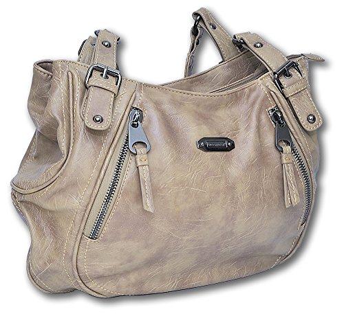 Jennifer Jones Damen Handtasche Henkeltasche Umhängetasche hochwertiges Kunstleder (Natur) (Damen Handtasche Beige)