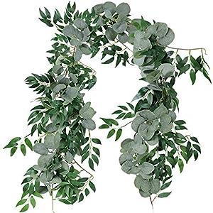 Mazheny 6 Ft gemischte künstliche Silber-Eukalyptus- und Weidenranken Zweige Blätter Girlande Hochzeit Zuhause Dekoration grün
