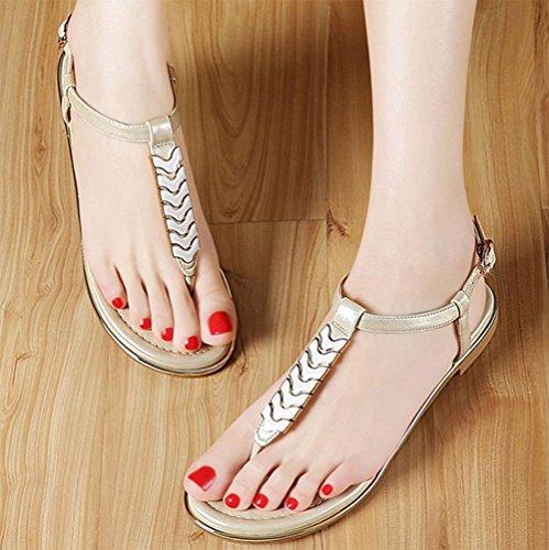 sandales femmes bas Xia Jiping orteil clip sandales de plage Gold