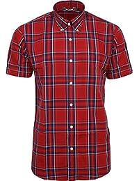 cb6cb3e0 Relco Mens Red Tartan Check Short Sleeved Shirt Mod Skin Retro Indie 60s