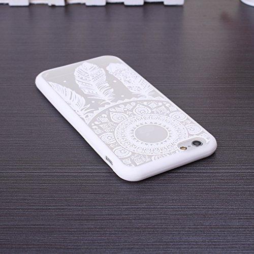 EKINHUI iPhone 5SE 5S Case; Sch¨¹tzende PC harte r¨¹ckseitige Abdeckung Fall mit Druckmuster + TPU Bumper f¨¹r iPhone 5SE, iPhone 5S (Ethnic Tribal Henna-Red) Dream-white