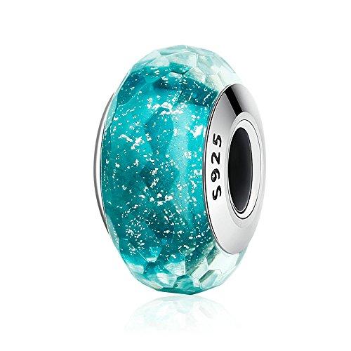 Lily Jewelry azzurro verde in vetro di Murano, in argento Sterling 925, adatto per Pandora braccialetti europei