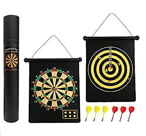 Cotechs Reversible Magnetic Dartboard - Gift Boxed, Easy to Roll Up and Store with Darts