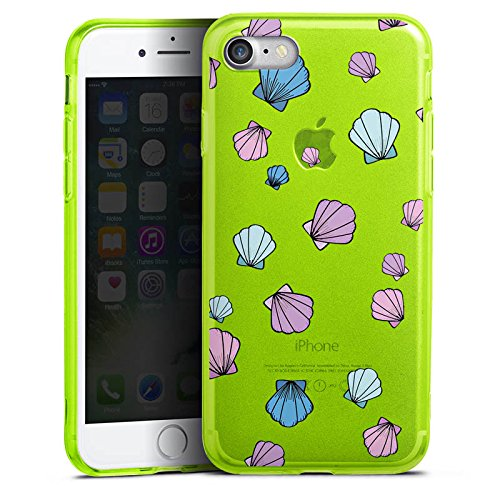 Apple iPhone 8 Silikon Hülle Case Schutzhülle Muscheln ohne Hintergrund Muster Silikon Colour Case neon-grün