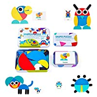 NASHIRO Wooden Pattern Blocks Set Sorting and Stacking Games, Animals Jigsaw Puzzle Educational Shape Puzzle Baby Toddler & Kids Toy, Gifts For 3+Year Old Boy Girls(36 Shape Pieces & 60 Pattern Cards)