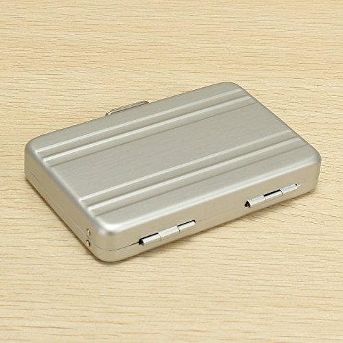 LaDicha Aluminium Business Kreditkarte Box Mini Suitcase Card Holder High Grade Business Office Cards Box - Leicht Grau
