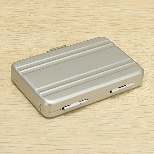 LaDicha Aluminium Business Kreditkarte Box Mini Suitcase Card Holder High Grade Business Office Cards Box - Leicht Grau (Kreditkarte Kostüm)