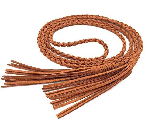 dchen Dekorative Gestrickte Lederbauchkette/Seil / Gurt mit Troddel PDW0040 (149cm lang, Camel) ()