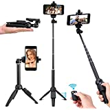 Kwithan Selfie Stick Tripod, 40 Inch Extendable Selfie Stick With Wireless Remote And Tripod Stand For IPhone 8/iPhone 8 Plus/X/iPhone 7/iPhone 7 Plus/Galaxy Note 8/S8/S8 Plus & More
