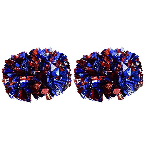 Tbest Cheerleader Pom Poms Cheerleading, 1 Paar Cheerleader Pom Poms Aerobic Cheerleading Pompons Metallic für Tanzparty Schule Sport Wettbewerb(Silber + Rot + ()