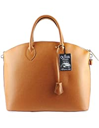 Olivia - Grand sac à main en Cuir de vachette Marron CAMEL N1293 Cuir véritable facon Fason Vintage
