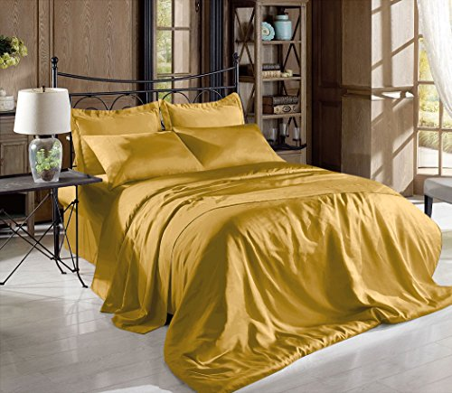 Comfy Deal Höhe Fadenzahl Farbe, seidig Charmeuse Satin Luxus und Super Soft Bed Sheet Set, Polyester Satin, gold, California King -