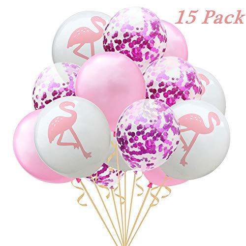 Pretty-jin Ballons 15pcs 12inch Flamingo Ananas Schildkröte Blatt Latex Ballons Konfetti Rosegold Ballons für Hochzeitsdekoration Geburtstag Hawaii Party Decor (A: Flamingo Rosenrot)