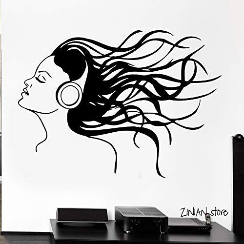 guijiumai Kopfhörer Musik Haar Cool Wandtattoos Mädchen Rock Pop Song Wandaufkleber Für Teen Schlafzimmer Abnehmbare Kunstwandhauptdekor schwarz 84x115