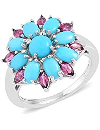 Sleeping Beauty Turquoise , Rhodolite Garnet Floral Ring in Rhodium Plated Sterling Silver 2.45 Ct