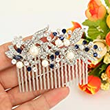 EVER FAITH® Crystal Gatsby Inspired Ivory Color Simulated Pearl Hair Comb - Blue-20-Teeth-Silver-Tone Bild 5