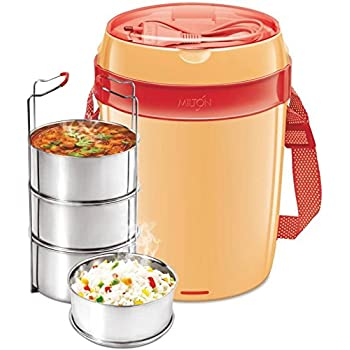 Milton Electric Tiffin-Futron 3 container for reheat lunch at office in winter(Colour may vary)