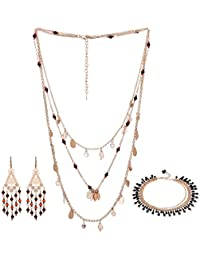 El Allure Present Combo Jewellery Set/Multi Strands Necklace With Earrings & Anklet For The Womens & Girls