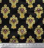 Soimoi Schwarz SAMT Stoff Blumen- Damast Stoff Meterware 58