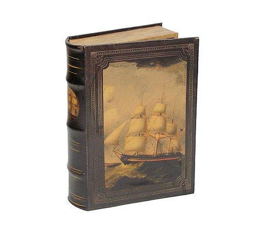 Hohles Buch mit Geheimfach Buchversteck Segelschiff Antik-Stil 33cm