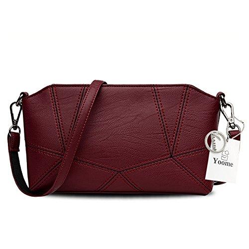 Yoome Retro borse da viaggio per le donne Flatbady borsa a mano frizione borsa con cinturino da polso - Navy Borgogna