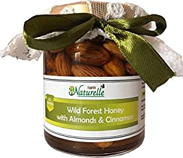 Farm Naturelle-Cinnamon Infused Pure Raw Natural Forest Honey and Big Delicious Almonds (Badaam)-250 Gms-Health Gift Item Pack