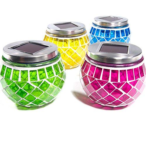 SuperLED 4-MOSAIC Solar Garden Mosaic Jar Lights (Pack of 4) - Multi-Colour