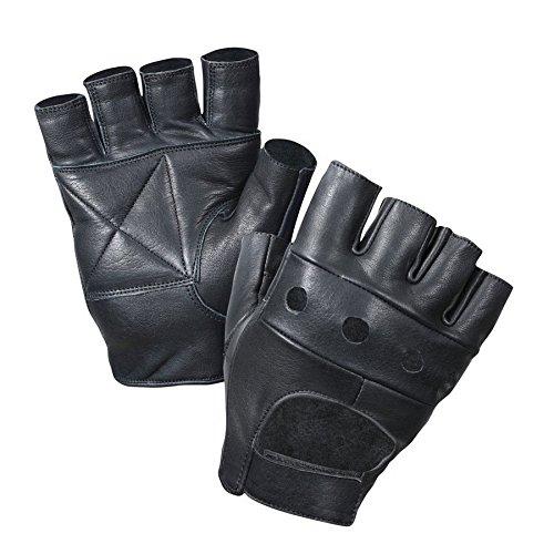 Fingerlose Handschuhe aus Leder, Schwarz, einfarbig, nicht CE-zertifiziert - Motorrad Handschuhe Indian