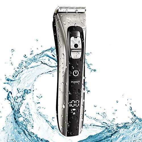 NWOUIIAY Haarschneidemaschine IPX7 Professionelle Mann Haarschneider Wasserdicht Haartrimmer kabellos Titaniumklingen mit 20 Längeneinstellungen LCD-Bildschirm Netz-/Akkubetrieb