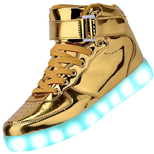 270d6bff65daa (Gold, 4 UK) - Padgene Women's Men's LED Lights Up Trainers High Top  Flashing Trainers USB Charging Lace Up Couples Shoes (7 Colours)