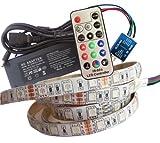 7 Meter (Set): hochwertige RGB LED Strip Band Streifen Leiste mit 420 LED (7m, weiße Oberfläche, IP65, 60LED/m), Controller, 17 Tasten Fernbedienung u. 10A Netzteil