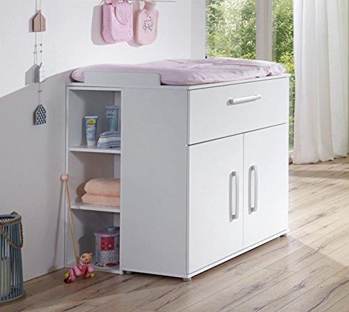 Babyzimmer, Kinderzimmer, Babymöbel, Einrichtung, Junge, Mädchen, Wickelkommode, Griffe matt silber, Schubkasten, Türen, Aufsatzseiten, weiß