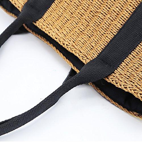 Borsa Donna Hjr 2018 Tessuta A Mano In Paglia Naturale Per Vacanza, Spiaggia, Tempo Libero Borsa Tote Alta Capacità Colore Marrone, Beige Marrone