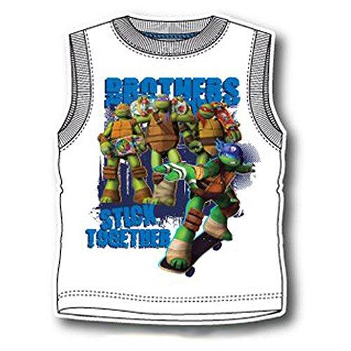 Top Ärmelloses T-Shirt Ninja Turtles oe1298Original Neu weiß weiß 3 anni - 98cm ()