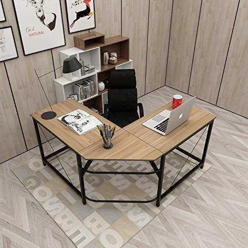 soges Computertisch L-Form Arbeitstisch Winkelschreibtisch Eckschreibtisch Schreibtisch mit CPU-Ständer, 150CM + 150CM,Farbe in Oak
