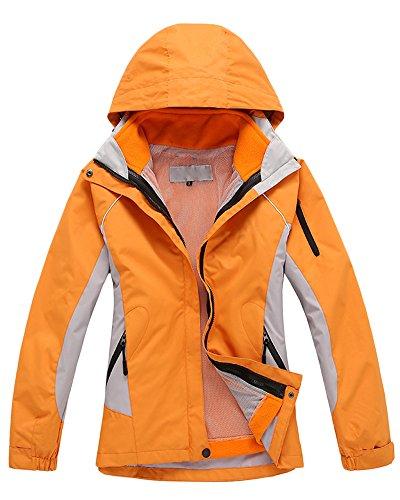Damen 3 in 1 Outdoor Jacken Skifahren Bergsteigen warm winddichte Bekleidung atmungsaktive Klettern Kleidung Orange XL
