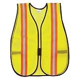 (12 Pack) MCR V200R Hi-Vis Vest Lime w/Orange/Silver Reflective Stripes by MCR Safety