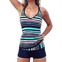 DIERDI Tankini Stripes Mujer 2pcs más traje de baño suave elástico verde rayas traje de baño con pantalones cortos