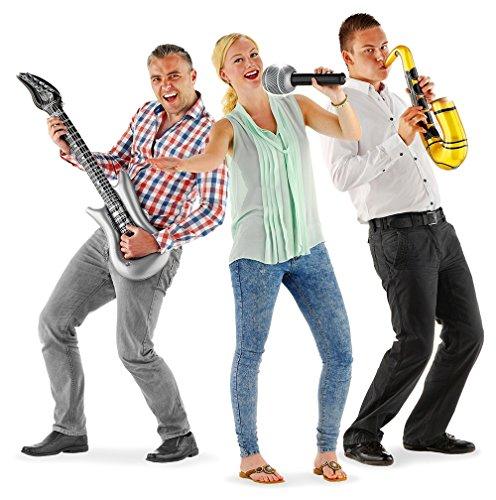 Folat 20254 Aufblasbares Musikinstrument-Set Mehrfarbig-3 Stück (Band-mikrofon)