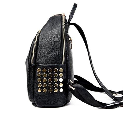 Frauen Mode Niet Mini Pu-leder Rucksack Umhängetasche College Handtasche Rucksack Black3