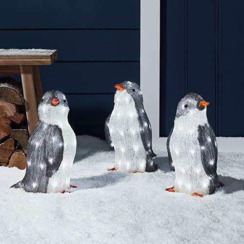 Lights4fun 3er Set LED Acryl Pinguin Figuren 34cm innen und außen
