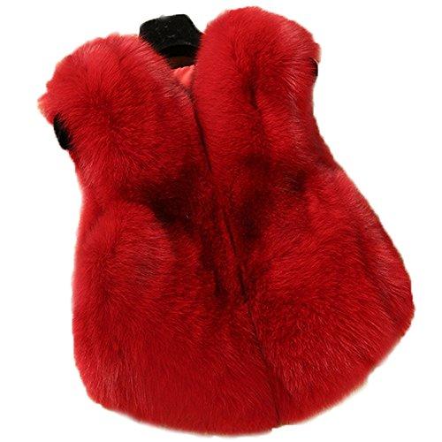 FOLOBE Kind Faux Fox Pelz Mantel Jacke Weste HEI?en Winter Warm Gilet Kinder Outwear Kurze schlanke Weste (Red Fox Pelz)