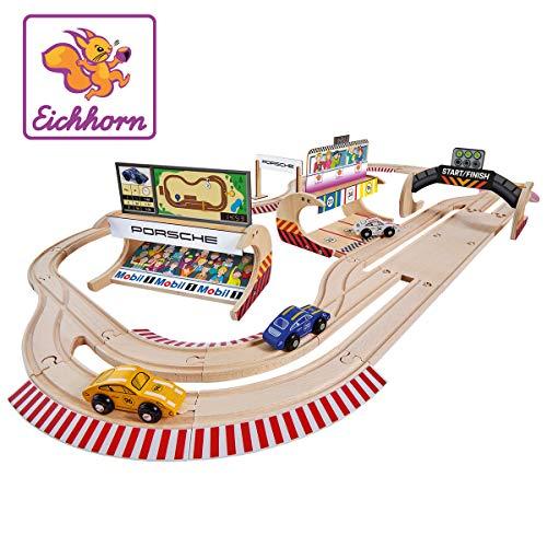 Eichhorn 109475855 Porsche Racing - Juego de ferrocarril (53 Piezas, Incluye Accesorios, Longitud de la trayectoria: 610 cm, Madera de Haya con certificación FSC 100%)