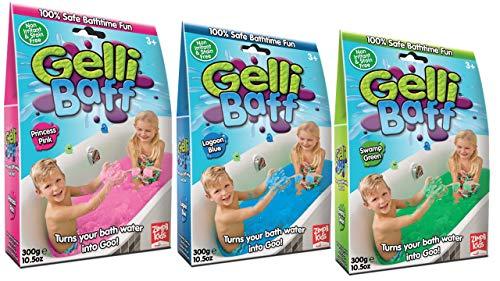 Zimpli Kids Limited - Gelli Baff Badepulver mit Lösungsmittel, Blau, Pink und Grün - Bundle (3 Stück)