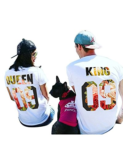 Partner Look Pärchen T-Shirt Set King Queen T-Shirts Hochzeitstagsgeschenk Geburtstagsgeschenk Jahrestagsgeschenk