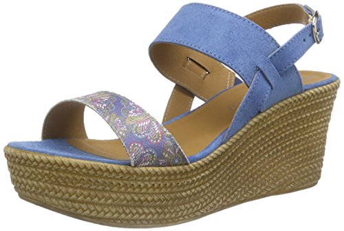 Tamaris 28364, Sandales à plateforme femme Bleu - Blau (DENIM COMB 853)
