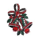 SODIAL 1 x Mode Elegant Diamant Weihnachten Bell Bow Schmetterling Knoten Hochzeit Braut Brosche Strass Bedeckt Fuer Frauen Damen Schmuck