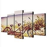 5 Pezzi Stampa Moderni Poster Vista in bicicletta in tandem Artwork Quadri su Tela Craft Stampato per Soggiorno Camera da Letto Sfondo Wall Office Decorazione Domestica 125x60cm(5pcs)(Con Telaio)