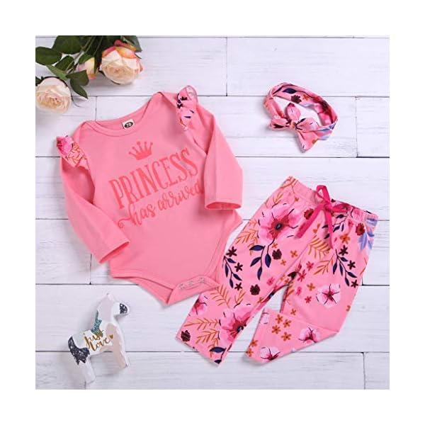 Greenwind Mameluco del bebé 3Pcs Infantil Baby Girls Letter Flower Print Romper Pants Hairband Outfits Set 3