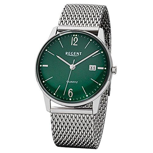Regent Hombre de Acero Reloj de pulsera elegante analógico de pulsera plata reloj de cuarzo urf988